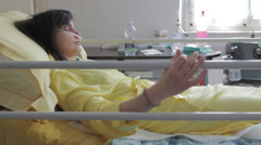 Patient with oxygen tank - hospital - ill - illness - sick Stock Footage