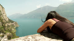 Woman At Lake Garda, Italy Stock Footage