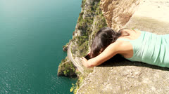 Woman At Lake Garda, Italy Stock Footage