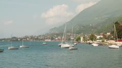 Sailboats at Lake Garda, Italy Stock Footage