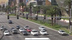 Busy street and luxury shops by day, Las Vegas Strip, Las Vegas, Nevada, USA, - stock footage