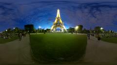 4K+HD Eiffel Tower stars, 360 video panorama  Stock Footage