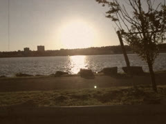 Stylized Drive Along Hudson River in Manhattan New York Stock Video Stock Footage