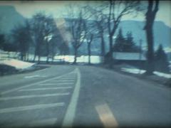 car drive on montain road in Switzerland - stock footage