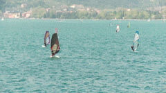 Sail Boarder at Lake Garda, Italy Stock Footage