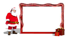 Christmas clip of Santa Claus with empty giant card Stock Footage