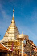 Doi suthep pagoda, golden chedi in northern of thailand. Stock Photos