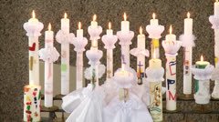 Candle, first communion Stock Footage