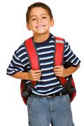 student: cheerful boy going to school - stock photo