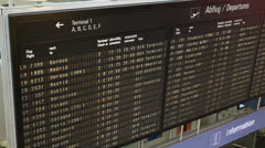 Timetable at airport Stock Footage
