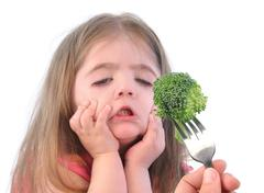 Girl and healthy broccoli diet on white Stock Photos