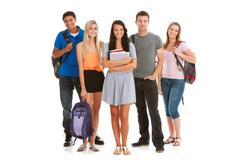 teens: group of attractive teen students - stock photo