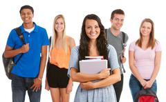 Stock Photo of teens: cheerful, smiling student friends