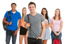 Teens: cool male student leads group of friends Stock Photos
