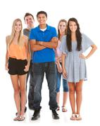teens: male in front of group of teens - stock photo