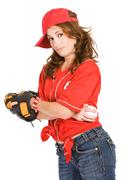 baseball: tough girl with baseball - stock photo