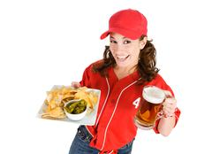 Baseball: nachos and beer for game snack Stock Photos
