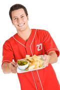 Baseball: hungry for nacho chips Stock Photos