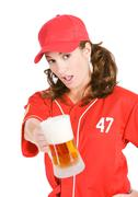 baseball: offering you a beer - stock photo