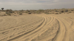 Rajasthan Thar Desert track in dunes  Stock Footage