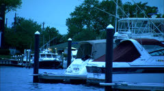 Panning Shot of Chesapeake Bay Marina and Boats HD Video Stock Footage