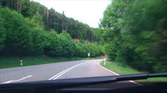 Turn on mountain, forest road Stock Footage