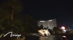 The Volcano, front attraction of The Mirage resort by night,  Las Vegas, SUA Stock Footage