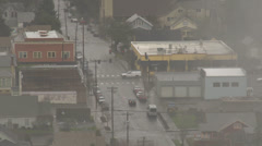 Birds-eye view of city street Stock Footage