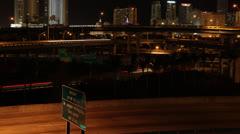 Downtown Miami Dade County I-95 836 I-395 Interchange Exit Stock Footage