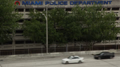 Driving Past Miami Police Department Along Interstate 95 Stock Footage