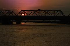 Landscape  twilight sunset over the bridge of the chao phraya river Stock Photos
