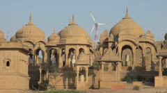 India Rajasthan Jaisalmer Bada Bagh domes and windmill  Stock Footage