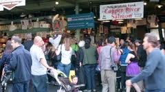 Seattle fish market downtown crowd HD 6706 Stock Footage
