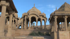 India Rajasthan Jaisalmer Bada Bagh cenotaph dome and pyramid roof  - stock footage