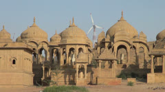 Stock Video Footage of India Rajasthan Jaisalmer Bada Bagh cenotaph complex zoom out