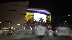 Miami Heat Fans Exit Arena After Basketball Game Stock Footage