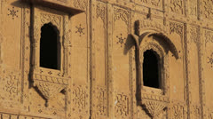 India Rajasthan Jaisalmer Royal Cenotaphs windows with delicate carvings  Stock Footage