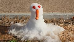 Stock Video Footage of Snow puppet melting