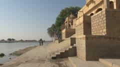 India Rajasthan Jaisalmer lakeside ghat stairs and landing  Stock Footage