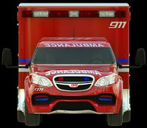 ambulance: front view of emergency services vehicle - stock photo