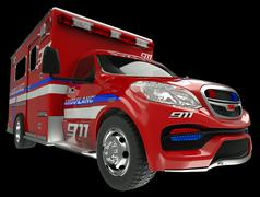 Ambulance: wide angle view of emergency services vehicle on black Stock Photos