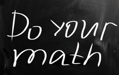 """do your math"" handwritten with white chalk on a blackboard Stock Illustration"