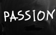 """passion"" handwritten with white chalk on a blackboard - stock illustration"