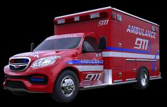 Emergency: ambulance vehicle isolated on black Stock Photos