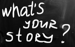 """what is your story"" handwritten with white chalk on a blackboard - stock illustration"