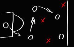 soccer game strategy on a blackboard - stock illustration