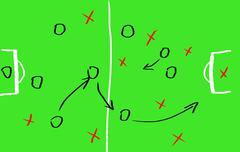 soccer game strategy on a board - stock illustration