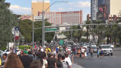 Las Vegas Strip crowded tourist day traffic street pedestrian Nevada USA America Stock Footage