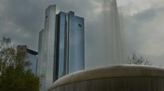 Frankfurt financial fountain 4K 16x9 Stock Footage