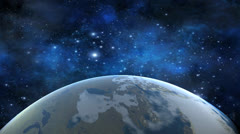 Rotation earth in universe. - stock footage
